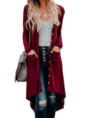 Actloe Women Long Sleeve Open Front Button Long Knited Cardigan Outwear with Pocket
