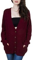 Purple Hanger PurpleHanger Women's Long Sleeve Cable Knit Chunky Cardigan 4-6