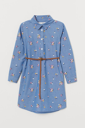 H&M Cotton Shirt Dress - Blue