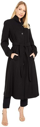 Kate Spade Belted Long Wool Coat (Black) Women's Coat