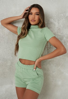 Missguided Green High Neck T Shirt And Turn Up Shorts Co Ord Set