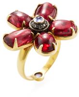 Amrapali 18K Yellow Gold, Tanzanite, Spinel & 0.20 Total Ct. Diamond Flower Ring