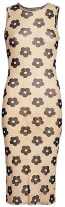 Sandy Liang Mama Flower Print Sleeveless Bodycon Dress