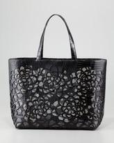 Nancy Gonzalez Crocodile Cutout Tote Bag, Black
