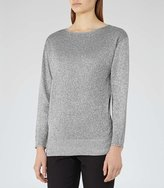 Reiss Rhea Metallic V-Neck Jumper