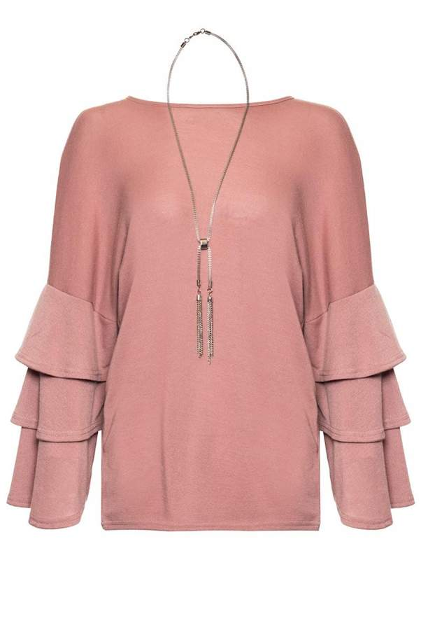 Quiz Dusty Pink Frill Sleeve Light Knit Necklace Top