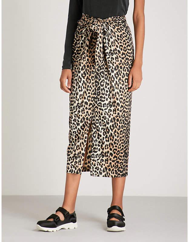 Ganni Calla leopard-print stretch-silk midi skirt