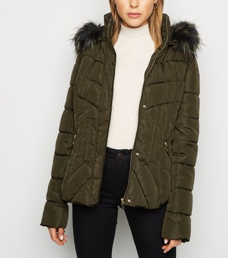 New Look Blue Vanilla Faux Fur Trim Puffer Jacket