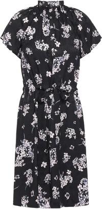 Rebecca Taylor Shirred Floral-print Silk-satin Jacquard Mini Dress