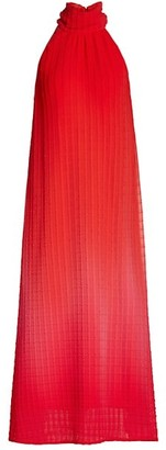 Lela Rose Raised Plisse Chiffon Halter Midi Dress