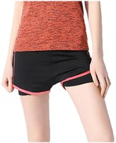 uxcell Women Stretchy 2 in 1 Color Block Compression Sports Shorts X-Large
