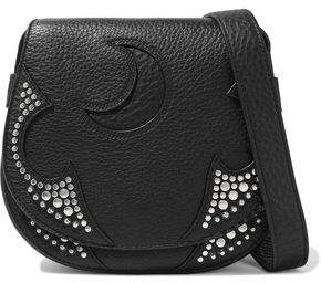 McQ Solstice Cutout Studded Pebbled-leather Shoulder Bag