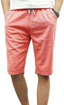 WSLCN Men's Summer Linen Elastic Waist Capri Shorts Casual With Pockets