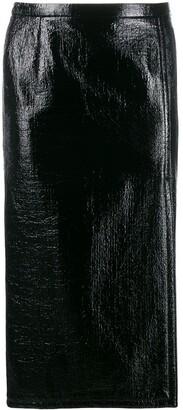 No.21 Crinkled-Effect Pencil Skirt
