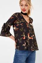 Girls On Film Bird Print Blouse