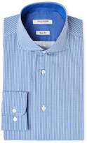 Isaac Mizrahi Blue & White Neat-Print Slim Fit Dress Shirt