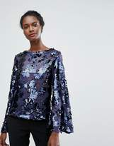 Endless Rose Leopard Print Sequin Top With Bell Sleeves