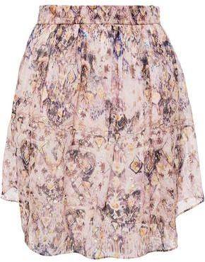 IRO Metallic Fil Coupe Printed Silk-blend Chiffon Mini Skirt