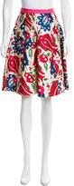 Oscar de la Renta Floral Print A-Line Skirt
