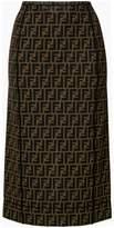 Fendi logo fitted pencil skirt
