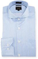 Neiman Marcus Luxury Tech Classic-Fit Stripe-Print Dress Shirt, Blue
