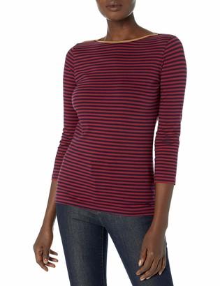Chaps Women's Boatneck Faux Suede Trim 3/4 Sleeve Jersey T-Shirt
