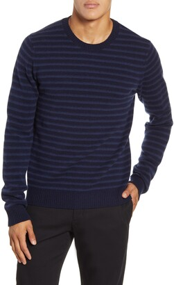 Vince Crewneck Shadow Stripe Merino Wool Sweater