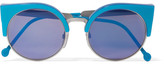 RetroSuperFuture Ilaria Cat-eye Acetate And Silver-tone Mirrored Sunglasses - Blue