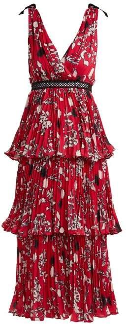Self-Portrait Self Portrait Pleated Floral Print Midi Dress - Womens - Red Multi