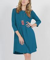 Lydiane Women's Casual Dresses TEAL - Teal Crewneck Three-Quarter Sleeve Pocket Tunic Dress - Women