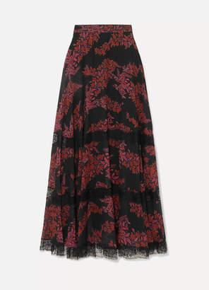 Giambattista Valli Lace-trimmed Floral-print Silk-georgette Maxi Skirt - Black