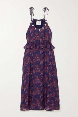 Figue Alina Shell-embellished Printed Silk-chiffon Dress - Purple