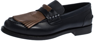 Burberry Black/Brown Leather Bedmoore Fringe Detail Penny Loafers Size 44