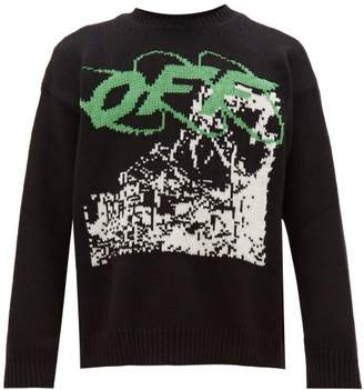 Off-White Off White Ruined Factory Jacquard Wool Blend Sweater - Mens - Black White