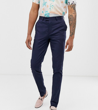 Asos DESIGN Tall skinny smart pants in navy cotton