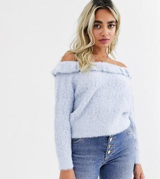 Miss Selfridge Petite off the shoulder jumper with frills in light blue-Grey