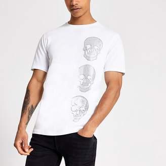 River Island White slim fit rhinestone skull T-shirt