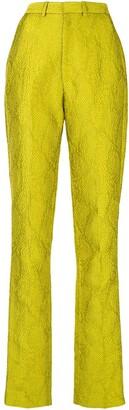 Sally LaPointe Snakeskin Print Jacquard Pintuck Trousers