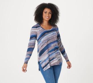 Belle By Kim Gravel Watercolor Stripe Long- Sleeve Knit Top