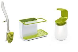 Joseph Joseph Kitchen Sink Set with Caddy, Edge Dish Brush and C-Pump, White/Green