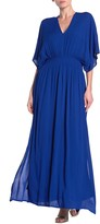 Nina Leonard V-Neck Smocked Waist Maxi Dress