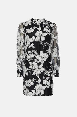 Coast High Neck Puff Sleeve Floral Dress