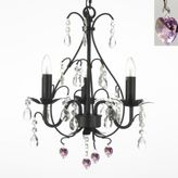 Bed Bath & Beyond Wrought Iron & Crystal 3-Light Chandelier with Pink Crystals