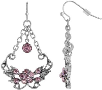 1928 Silver Tone Amethyst Color Caged Drop Earrings