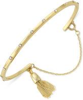 Vince Camuto Gold-Tone Crystal Studded Tassel Bangle Bracelet