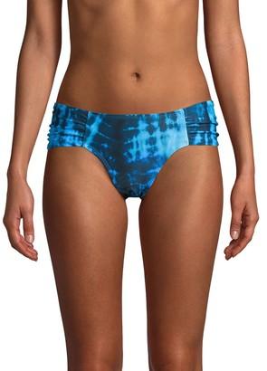 Rachel Roy Tie-Dye Ruched Bikini Bottoms