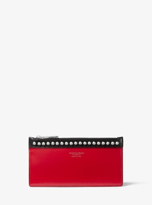 Michael Kors Large Studded Two-Tone Leather Card Case
