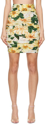 Dolce & Gabbana Multicolor Silk Ruched Floral Skirt