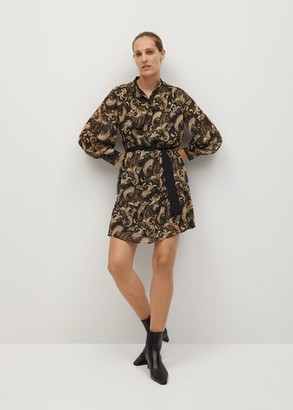 MANGO Printed bow dress brown - 2 - Women