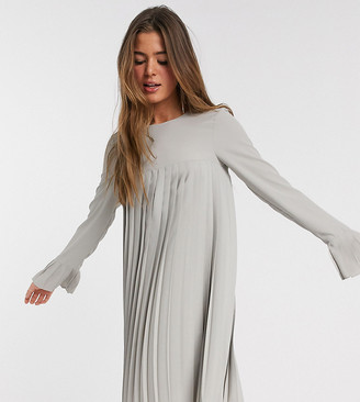 Asos DESIGN Tall pleated trapeze mini dress with long sleeves in grey